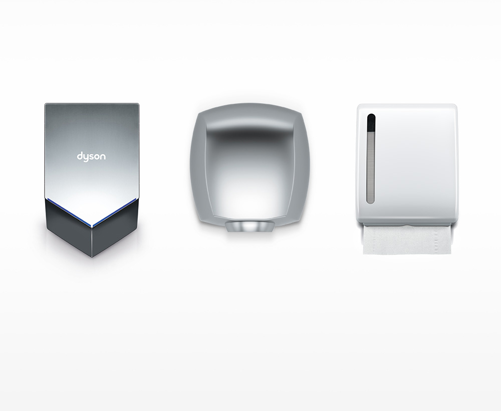 Dyson Airblade V hand dryer costs compared to paper towels and other hand dryers