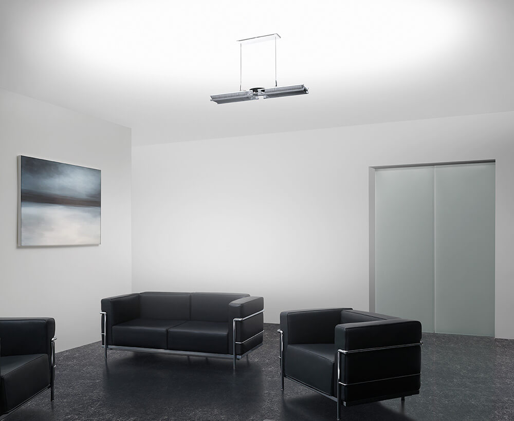 Cu-Beam up-light install image in reception area.
