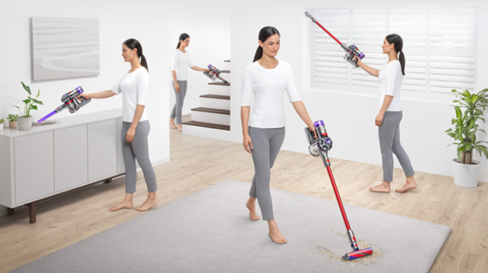 The Dyson V8 Slim being used to clean all around the home
