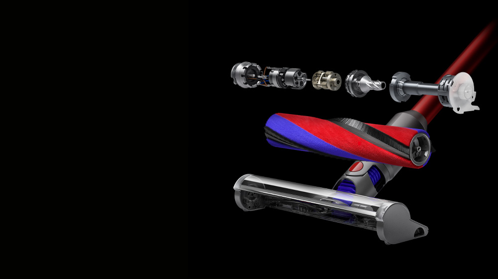 Cutaway image of the 40% lighter Dyson V8 Slim Fluffy cleaner head